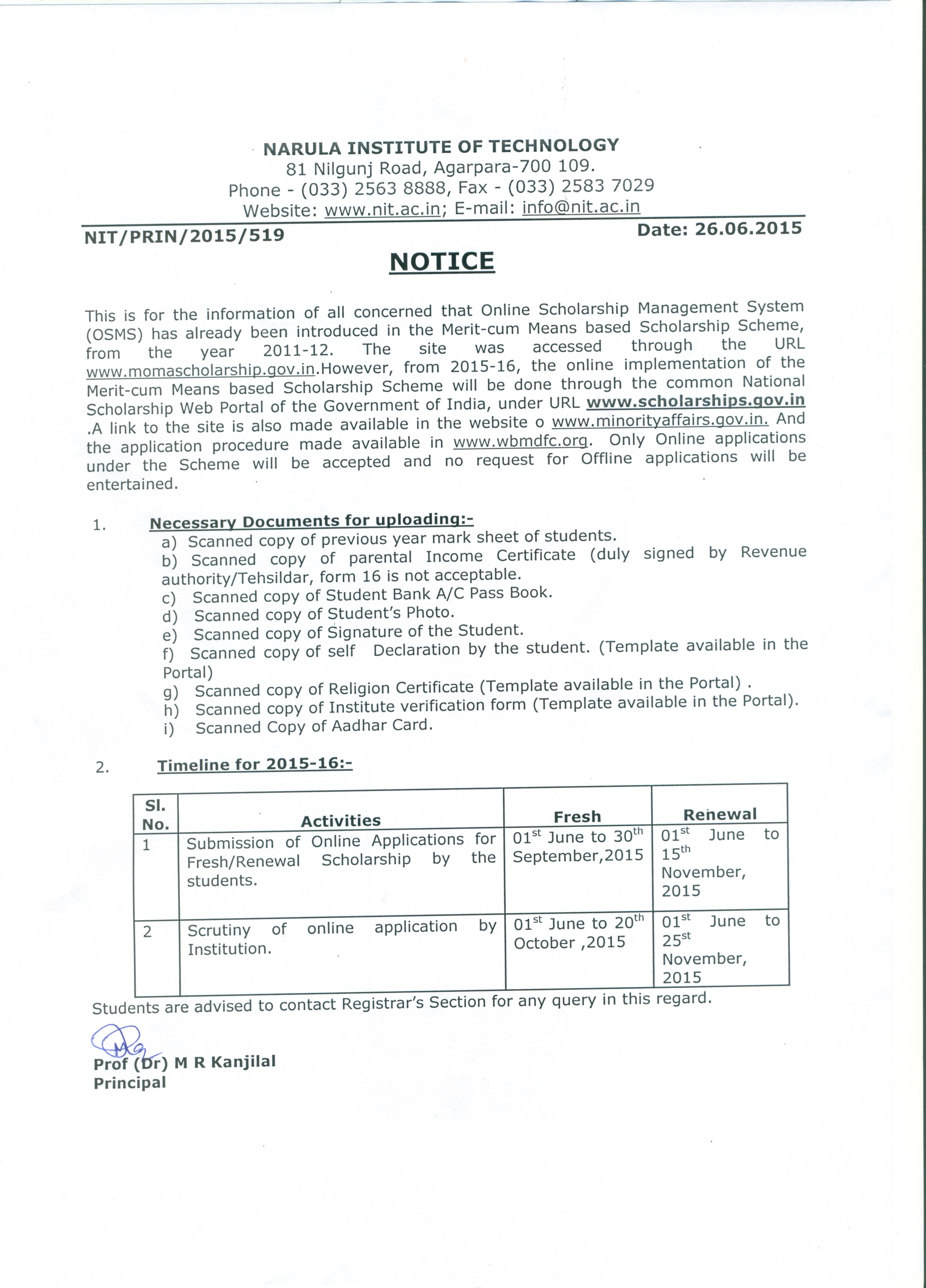Top | NIT| kolkata| west bengal| engineering| college Application Form For Scholarship Sc St Obc on