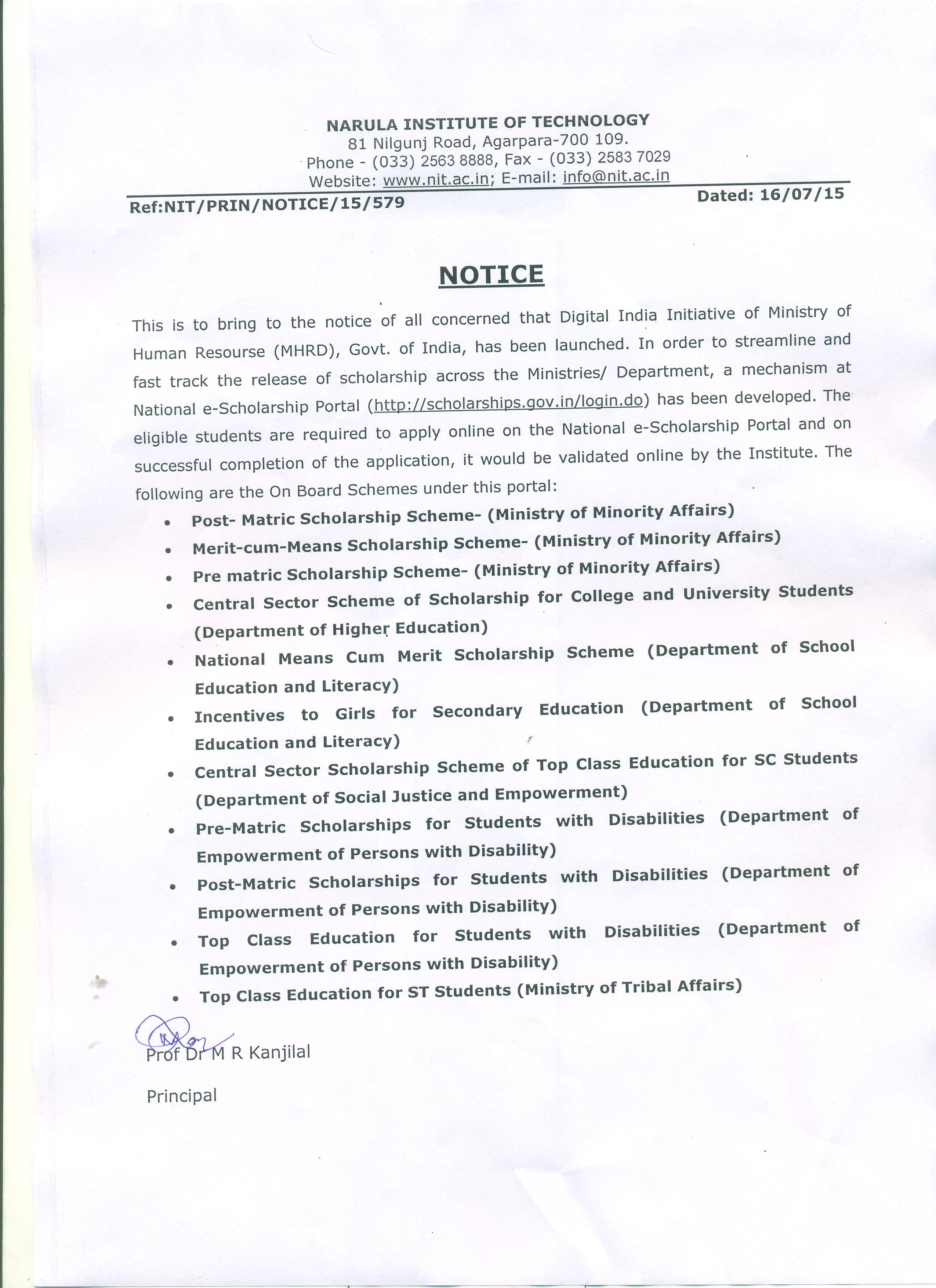 ... Notice for National e-Scholarship Portal ...